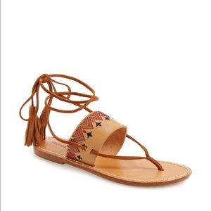 NEW Soludos Leather Embroidered Tassel Flat Sandal